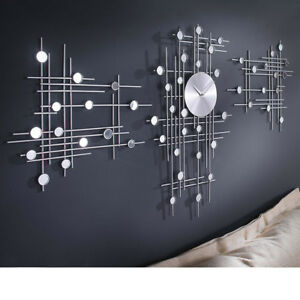 3 teilige Moderne Design Wanduhr Uhr Wohnzimmerwanduhr Kchenuhr Brouhr Analog  eBay