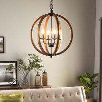 Modern Chandelier Lighting Globe 4 Lights Wood Ceiling ...