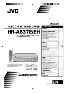 JVC HR-A637E HR-A637EH VCR Owners Instruction Manual