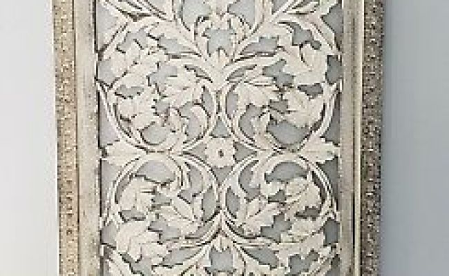 Rustic Tuscan Shabby Chic White Washed Carved Wood Wall