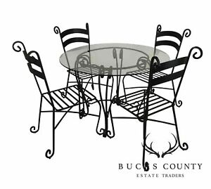 details about wrought iron 5 piece 42 round glass top bistro dining set