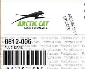 NEW 2 OEM Arctic Cat 0812-006 Magnetic Drain Plug LOT OF