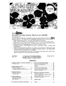 Singer 354 Sewing Machine/Embroidery/Serger Owners Manual