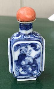 Antique Blue and White Glazed Porcelain Chinese Snuff Bottle Signed