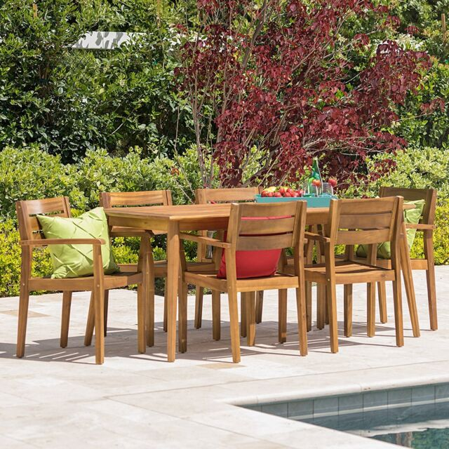 7 piece outdoor acacia wood deck dining set patio furniture table chairs bbq