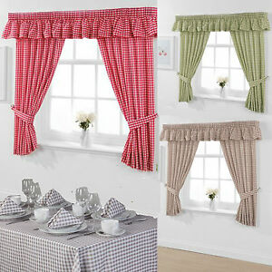 cheap kitchen curtains washable rugs non skid gingham small check matching pelmets image is loading