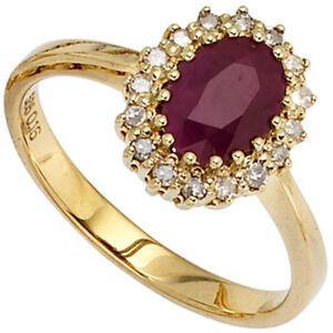 Ring Damenring mit Rubin rot 16 Diamanten Brillanten 585