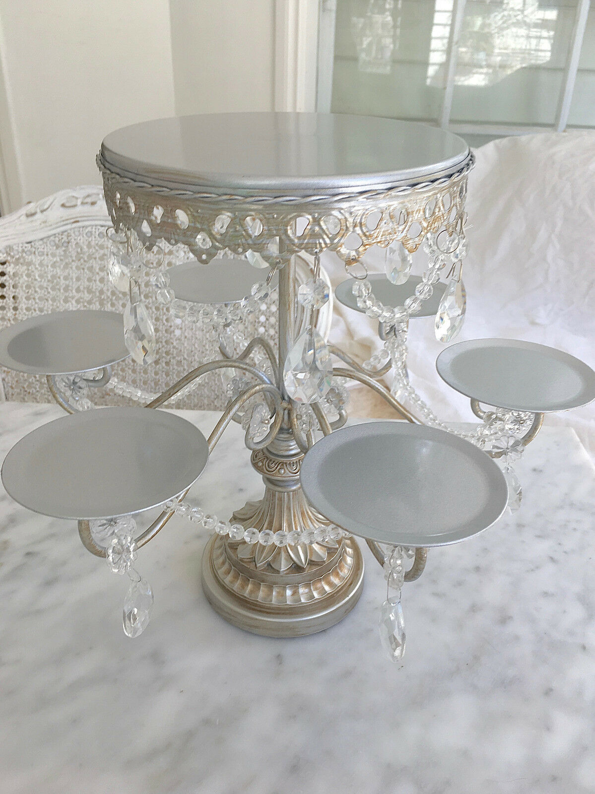 Shabby Crystal Prisms Silver Chic Cupcake Candelabra Table