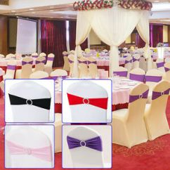 Chair Covers And Bows Ebay Small Kitchen Tables Chairs 50pcs Set Spandex Stretch Cover Sash Bow Wedding With Buckle Image Is Loading