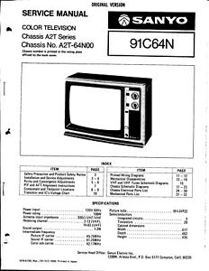 SANYO SERVICE MANUAL for a MODEL 91C64N COLOR TELEVISION
