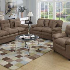 Microfiber Living Room Furniture Sets Wooden Escape Walkthrough Sofa Set 3p Loveseat Chair Dark Brown Details About