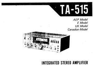 Sony TA-515 Manual De Servicio Libro Inc Shem Amplificador