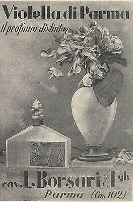 PUBBLICITA' 1928 VIOLETTA DI PARMA BORSARI PROFUMO DISTINTO COLONIA ESSENZA    eBay