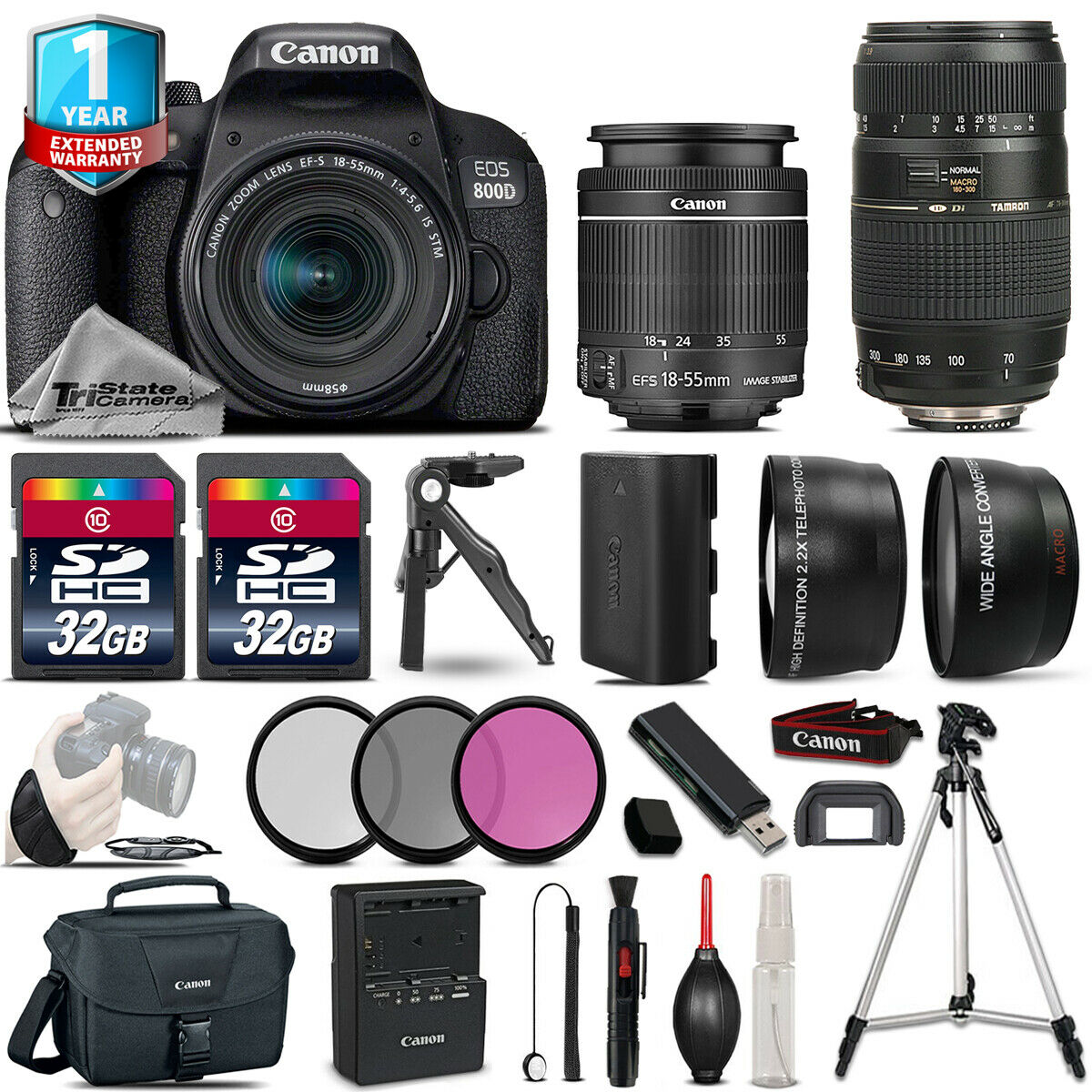 Canon Rebel 800D T7i Camera + 18-55mm IS STM & 70-300mm + 1yr Warranty + 64GB