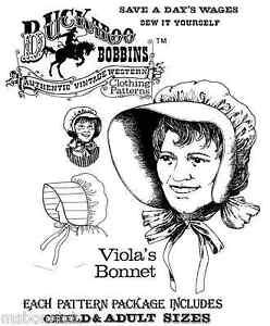 Buckaroo Bobbins Viola's Sun Bonnet Pioneer 1800s-1920