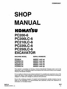 Komatsu PC220LC-6 PC250LC-6 Excavator Service Shop Manual