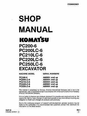 Komatsu PC200-6 PC200LC-6 PC210LC-6 Excavator Service Shop