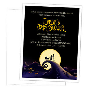 Details About 8 Nightmare Before Christmas Baby Shower Personalized Invitations