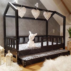 details zu lit cabane lit pour enfants lit d enfant lit cabane avec tiroir barriere