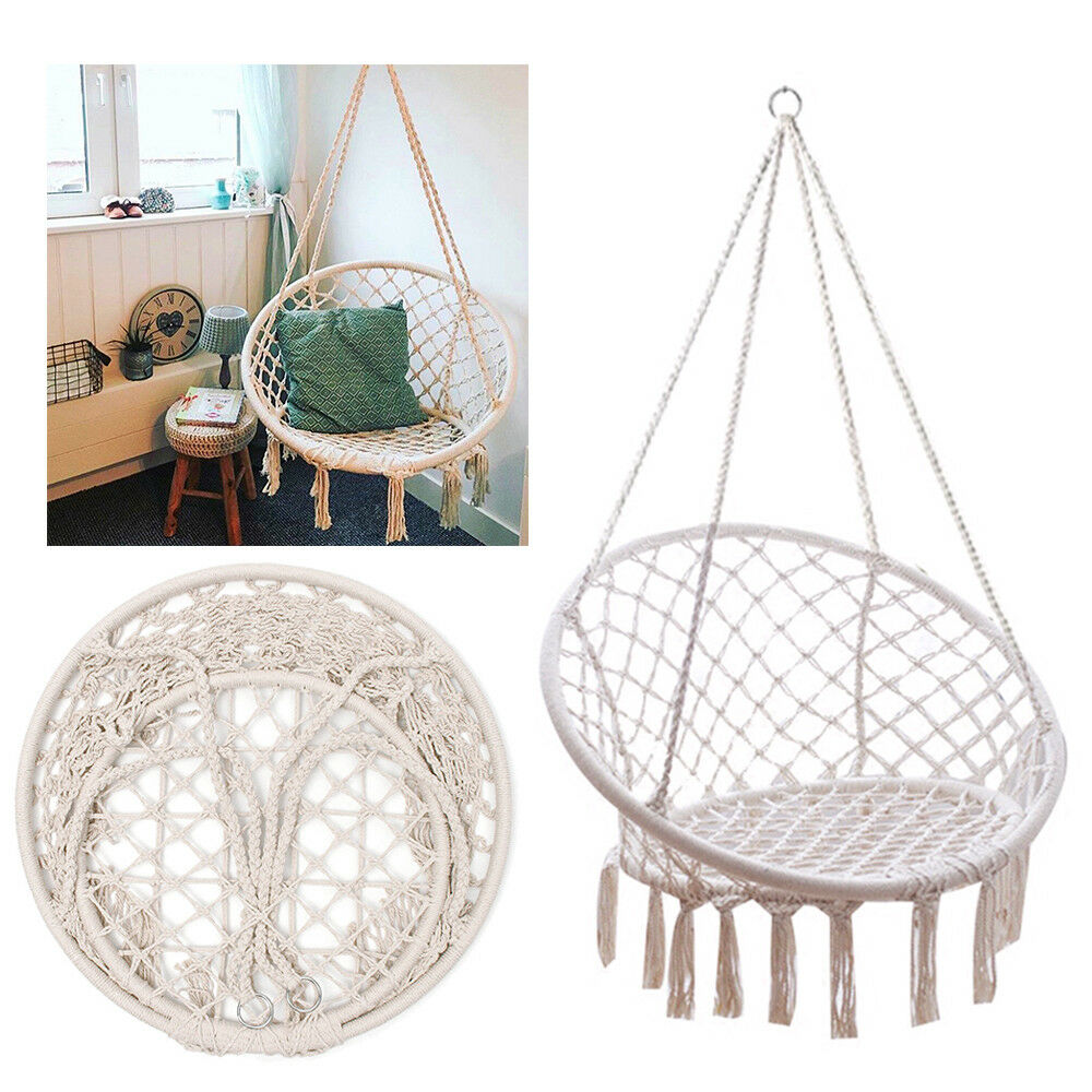 hanging chair swing cottage dining chairs beige cotton rope macrame hammock outdoor home norton secured powered by verisign