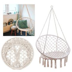Rope Chair Swing Black Windsor With Arms Beige Hanging Cotton Macrame Hammock Outdoor Home Garden 120kg Ebay