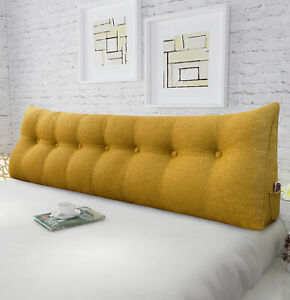 details about wowmax bed wedge bolster reading pillow linen blend yellow daybed back pillow