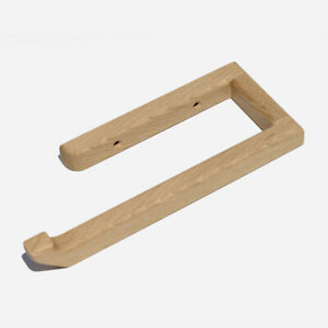 details about solid oak wooden wall mounted bathroom towel rail kitchen roll holder l hand