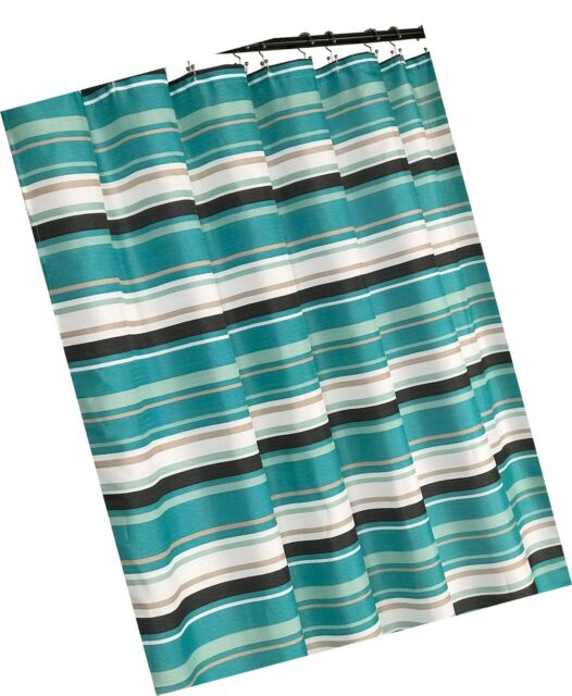 evonca teal aqua brown taupe white fabric shower curtain canvas striped pattern
