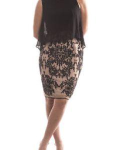 Image is loading joseph ribkoff black nude sleveless cocktail dress size also uk rh ebay