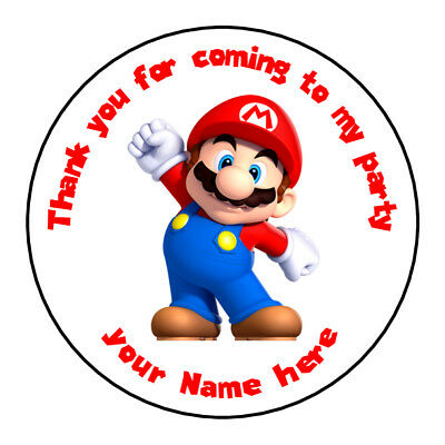 unofficial mario luigi personalised birthday stickers thank you for coming party ebay