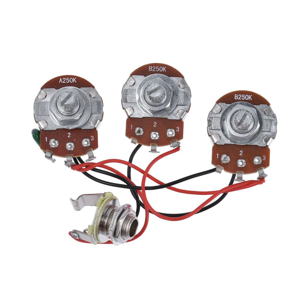 medium resolution of bass wiring harness prewired kit 250k pots 2v 1t for jazz bass guitar parts