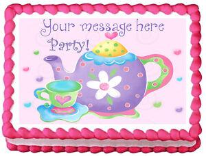 Teapot Tea Party Cake Design Image Edible Cake Topper Decoration Ebay