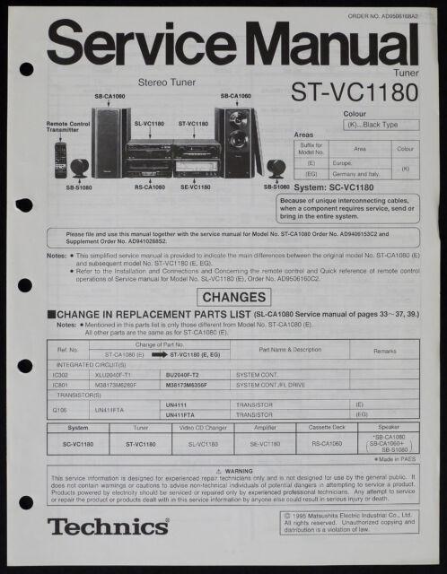 Technics ST-VC1180 Original Tuner Service Manual/Diagram
