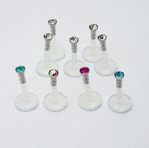 5er SET Lippenpiercing Bioflex Labret Kunststoff Lippen Piercing 1,2 x 8 x 2 mm