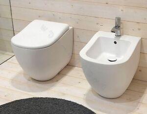 Sanitari bagno Fluid water bidet e coprivaso filo muro parete bianco lucido  eBay
