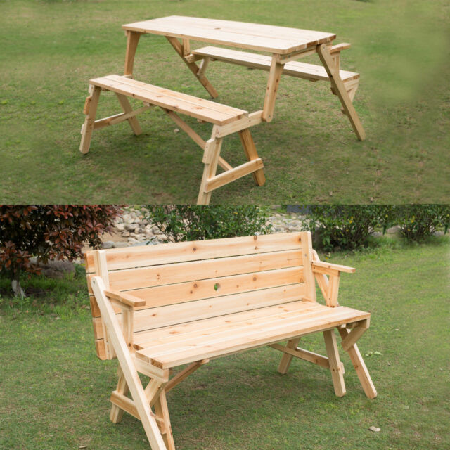 folding chair picnic table modern gray dining chairs outsunny 2 in 1 convertible garden bench ebay interchangable wooden patio furniture