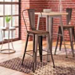 Rustic Metal Kitchen Chairs Bentwood For Sale Buy Counter Bar Stool Set Of 2 Wood Seat Top Copper