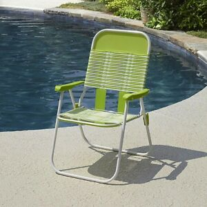 portable folding chairs adirondack lounge chair retro vintage lime pvc web tube stripes sling image is loading