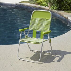 portable folding chairs steel chair walmart retro vintage lime pvc web tube stripes sling image is loading
