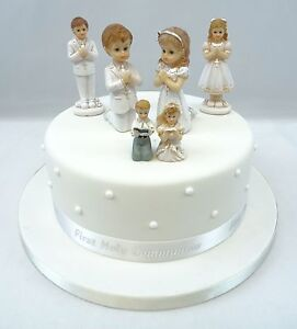 First Holy Communion Girl Boy Cake Toppers Diamante Cross And