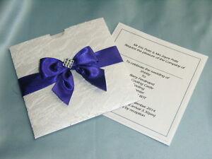 Details About Pocket Wedding Invitation Purple Ribbon Lace And Diamanté Trimmed Jane
