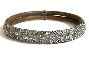 ANTIQUE VINTAGE GORGEOUS SILVER CHINESE BAMBOO FLOWER BUTTERFLY BRACELET BANGLE