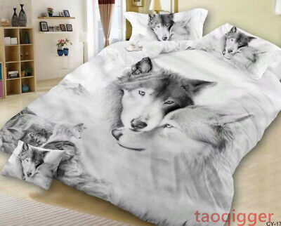 bedding sets 4pcs queen king size mens wolf 3d prined duvet quilt cover new ebay