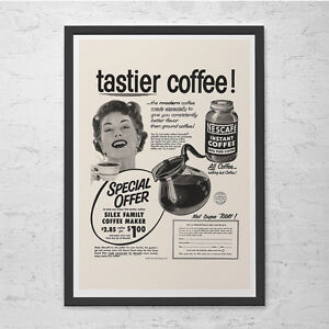 vintage posters for kitchen how much to replace cabinets coffee ad retro mid century poster details about 50 s nescafe