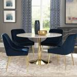 Modern Dining Room Furniture Silver Cushion Chair Marble Top Dining Table 7p Set For Sale Online Ebay