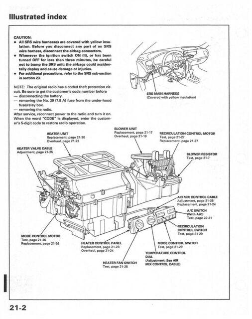 1996 Honda Accord Shop Service Repair Manual Engine