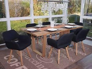 details sur 6x chaise de salle a manger altena ii fauteuil design retro tissu noir