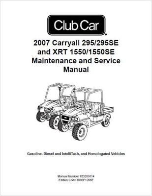 Club Car Carryall 295 295SE XRT 1550 1550SE Service Manual