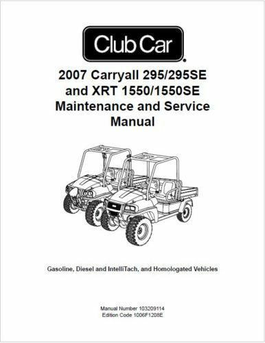 Club Car Carryall 295 295SE XRT 1550 1550SE Service Manual