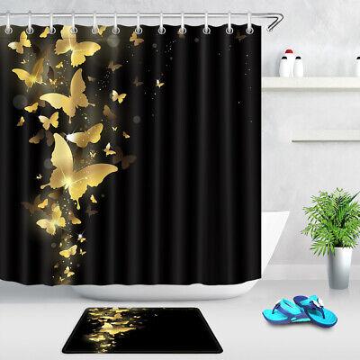 golden butterflies on black background shower curtain set bathroom decor 72 lb ebay